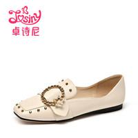 卓诗尼女休闲低跟方头中性水钻纯色乐福鞋112810473 米白色 35