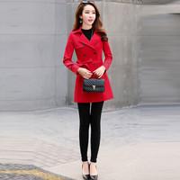 米兰茵(MILANYIN)女装 2019年春季时尚优雅端庄气质潮流长袖直筒修身中长款风衣 ML19177 红色 M