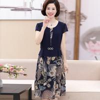 俞兆林 中老年女装宽松大码妈妈装中长款短袖连衣裙 YWMM192294 藏青色 XXXL