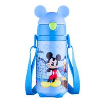 迪士尼(Disney)保温杯儿童带吸管304不锈钢婴儿水杯男女学生幼儿园宝宝背带水壶防摔便携杯子蓝色米奇440ml