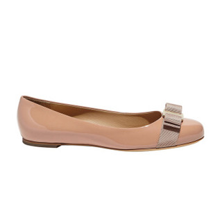 菲拉格慕(Salvatore Ferragamo) VARA 女士深粉红色牛皮革芭蕾平底鞋 0676235_1D _ 55(送女友)