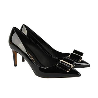 Salvatore Ferragamo 菲拉格慕 经典款女士黑色牛皮革高跟鞋 0704665_1D _ 55