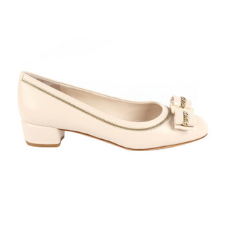 Salvatore Ferragamo 菲拉格慕 经典款女士Vara蝴蝶结系列骨色/米色羊皮革高跟鞋 0718298_1D _ 60