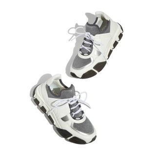 Salvatore Ferragamo 菲拉格慕 经典款女士白色织物/牛皮革运动鞋 0701986_1C _ 85