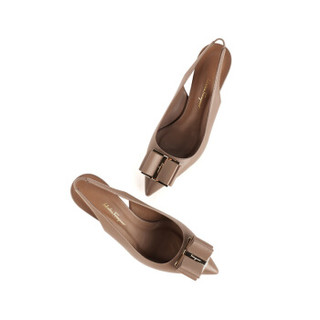 Salvatore Ferragamo 菲拉格慕 经典款女士骨色/米色羊皮革高跟鞋 0714967_1D _ 55