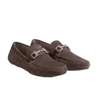 Salvatore Ferragamo 菲拉格慕 经典款男士Gancini系列深灰色牛剖层革莫卡辛鞋 0718321_3E _ 55