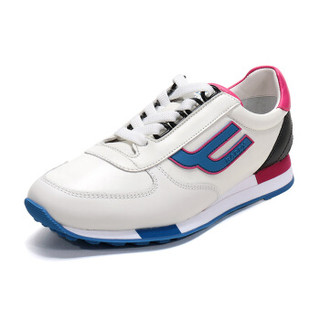 BALLY 巴利 女士白色蓝色多色皮质系带运动鞋 GAVINIA M F 07 6226128 4/37码