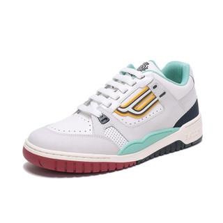 BALLY 巴利 男士白色浅灰色多色拼色皮质运动鞋 KUBA T 04 6226048 5/39码