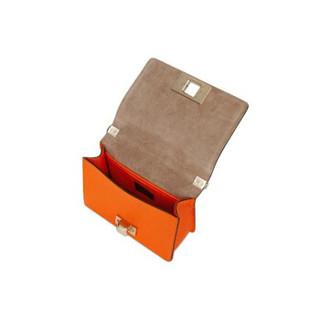 芙拉 FURLA 女士 橘红色 牛皮革  MIMI系列 迷你 斜挎包单肩包小方包1007417