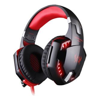 因卓(KOTION EACH)G2200黑红色 游戏耳麦7.1声道专业游戏带麦带震动USB内置声卡 炫光电竞耳机头戴式