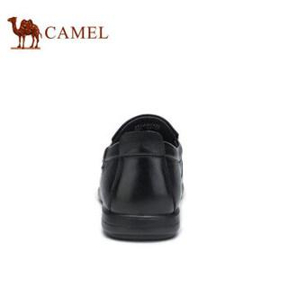 骆驼(CAMEL) 牛皮平底软底休闲商务皮鞋男 A912287430 黑色 41