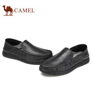 骆驼(CAMEL) 柔软牛皮商务轻便休闲皮鞋男 A912211470 黑色 41