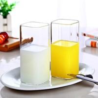 MINGSHANGDE 明尚德 透明玻璃杯方形杯子 400ml*2只装