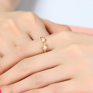 吾昔(WOOTHY)18K金 三色彩金 蝴蝶结 磨砂戒指 GRI0052 14#