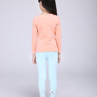 俞兆林(YUZHAOLIN)儿童内衣套装 精梳热力棉厚款打底秋衣秋裤M210342橙色90码