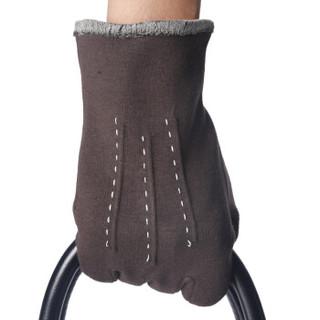 南极人(nanjiren)手套男冬加厚保暖 商务开车舒适 修手分指男士手套 棕色 416