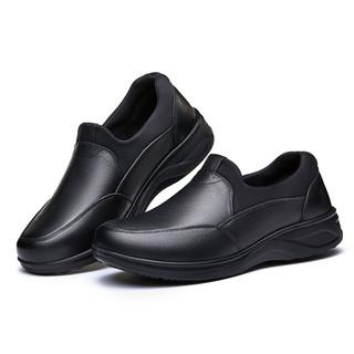 足力健 中老年男人轻便懒人皮鞋休闲软底舒适父亲母亲时尚散步 ZLJ3306 男款(黑色) 41