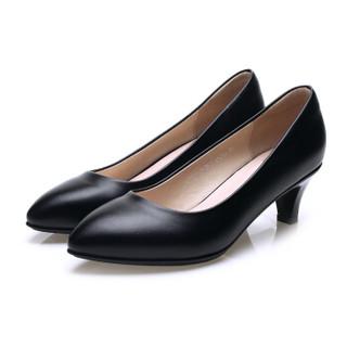 玫蒂莎 (MDIS∧)办公舒适百搭靓丽单鞋女简约大方工作单鞋 AE1125 黑色 36码