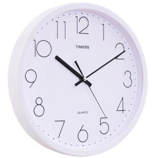 Timess挂钟 时尚简约纯净精灵立体刻度静音12英寸客厅石英钟S9651A象牙白