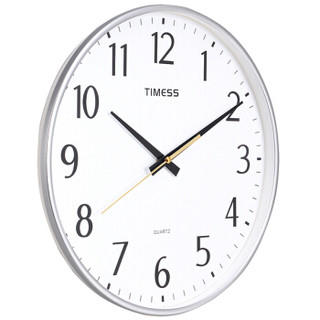 TIMESS挂钟14寸时尚创意客厅田园钟表静音简约时钟 Q3644-1粗银