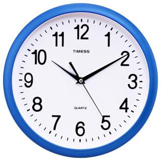 Timess挂钟 简约立体刻度静音12英寸客厅石英钟S9956-1白底蓝框