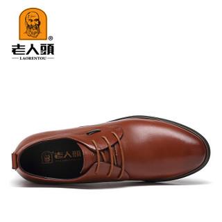 老人头(LAORENTOU)正装皮鞋男士商务内增高时尚英伦百搭 3589929 棕色 37码