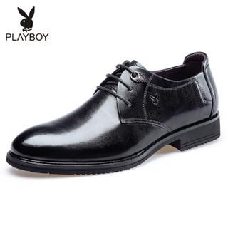 花花公子(PLAYBOY ESTABLISHED 1953)男士经典系带商务休闲皮鞋圆头正装鞋男鞋6CW566009D01黑色42