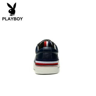 花花公子(PLAYBOY)DS65089 男鞋小白鞋轻便休闲板鞋 深蓝 40