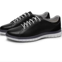 金利来(goldlion)男鞋冲孔透气休闲鞋耐穿系带皮鞋55901015801A-黑色-37码