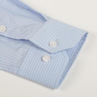 富绅Virtue 简约竖条纹免烫修身男士长袖衬衣 YCF20322117 蓝色 40(170/92)