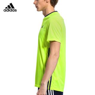 阿迪达斯adidas 运动休闲服 男款短袖T恤 羽毛球服 S90098 M码 银光绿
