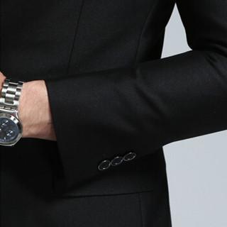 安其罗扬 男士西服套装 男款韩版商务休闲职业装修身西装套装企业按需制作 608 黑色 XL/180B