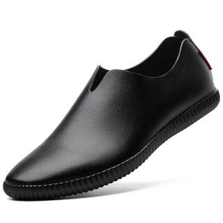 波图蕾斯(Poitulas)皮鞋男士舒适时尚驾车鞋套脚休闲鞋一脚蹬懒人鞋 5319 黑色 40