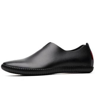 波图蕾斯(Poitulas)皮鞋男士舒适时尚驾车鞋套脚休闲鞋一脚蹬懒人鞋 5319 黑色 43