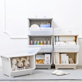 收纳盒零食侧开儿童玩具储物箱收纳筐整理箱前开式衣服塑料收纳箱