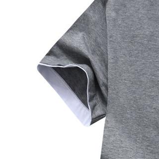 花花公子 PLAYBOY T恤 男士休闲圆领短袖时尚百搭t恤 灰色 2XL