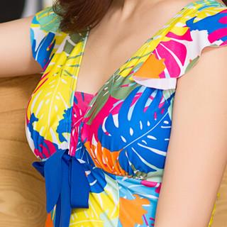 海波特(SEA'BBOT)泳衣女保守遮肚显瘦钢托游泳衣连体裙式平角妈妈大码温泉泳装 蓝叶子 5XL