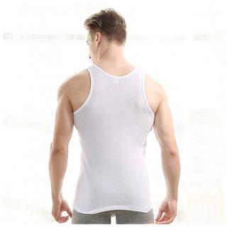 红豆居家男士背心纯棉弹力吸汗透气休闲运动修身打底背心 白色 175/100