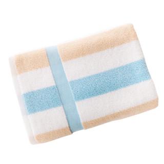 金号 毛巾家纺 纯棉无捻柔软条纹 清新浴巾 单条装 蓝色 390g 140*72cm