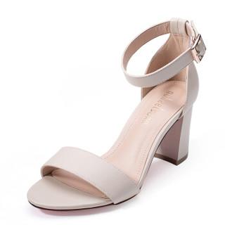 如熙 RUXI 一字带凉鞋女方头粗跟简约百搭复古高跟鞋 米色 39