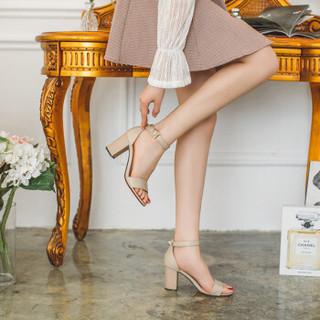如熙 RUXI 一字带凉鞋女方头粗跟简约百搭复古高跟鞋 米色 38
