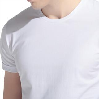 红豆 Hodo 男装 【吴京同款】基础纯色男士圆领短袖T恤 W1白色 170/88A