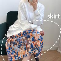 2020春季新款半裙印花油画风碎花半身裙中长款小清新女时尚显瘦夏
