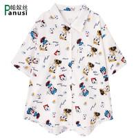 原宿风休闲卡通印花短袖衬衫女夏2020新款韩版宽松Polo领学生衬衣
