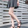 奥康女鞋夏季新款后空坡跟女凉鞋休闲时尚个性带钻丁字扣厚底凉鞋 *8件