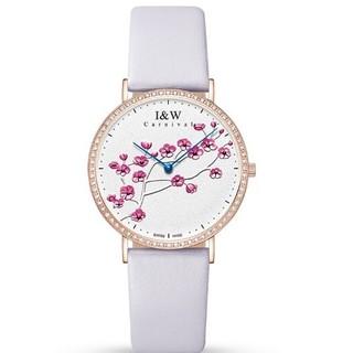 IW瑞士手表女款梅花系列原装进口石英腕表 3002.214.03.08 紫色皮带白盘金边