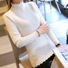 亚瑟魔衣针织衫女韩版半高领荷叶边修身套头毛衣女打底衫SH-0809 白色 均码