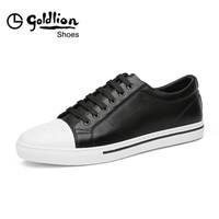 金利来(goldlion)男鞋时尚简约舒适系带潮流休闲鞋单板鞋598810101APB-黑色-37码