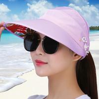 北诺(BETONORAY)遮阳帽女士夏季防晒帽大檐可折叠太阳帽户外骑车棒球帽 紫色-时尚花式款