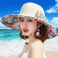 北诺(BETONORAY)防晒大沿帽遮阳帽子女夏双面海边太阳帽沙滩帽韩版 米色